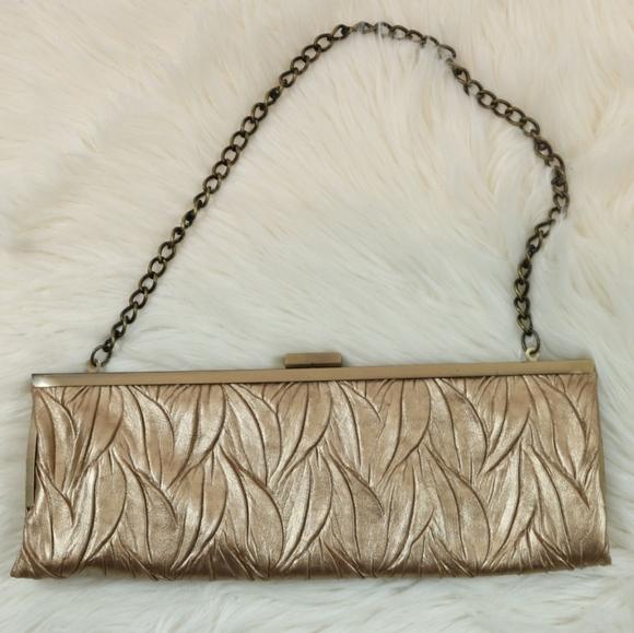 Jessica McClintock Bronze Gold Textured Clutch Bag